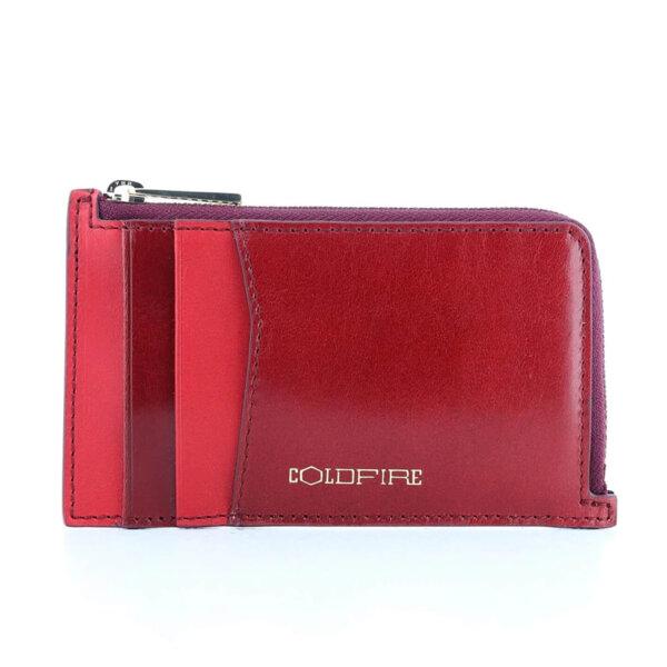 Калъф за кредитни карти и документи Coldfire с ципов монетник - естествена кожа, RFID Защита, тъмночервен