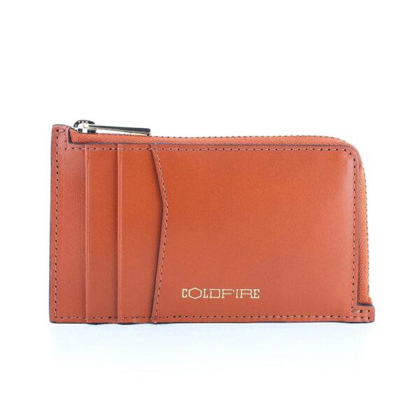 Калъф за кредитни карти и документи Coldfire с ципов монетник - естествена кожа, RFID Защита, оранжев