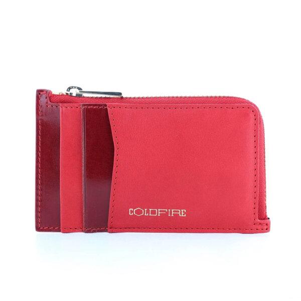 Калъф за кредитни карти и документи Coldfire с ципов монетник - естествена кожа, RFID Защита, червен