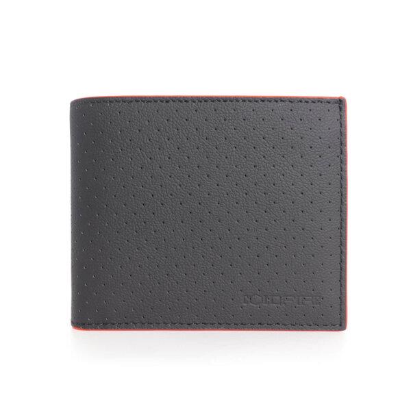 Мъжки Портфейл Coldfire от естествена кожа с перфорация - 4 отделения за карти и монетник, черен