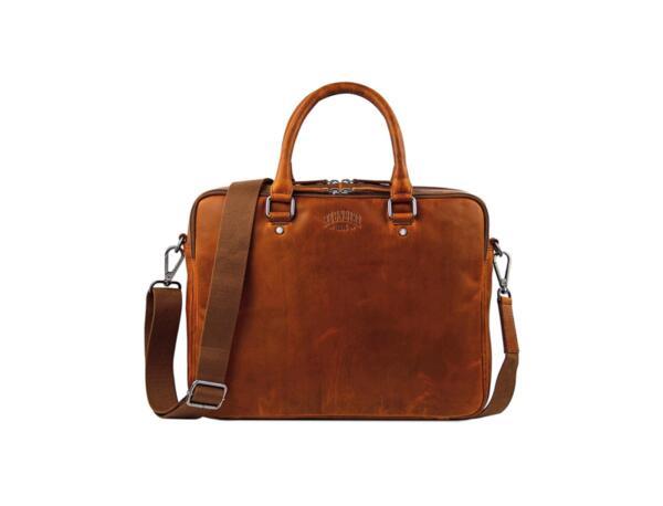 Чанта Klondike - EARL, отделение за лаптоп, естествена кожа, кафява