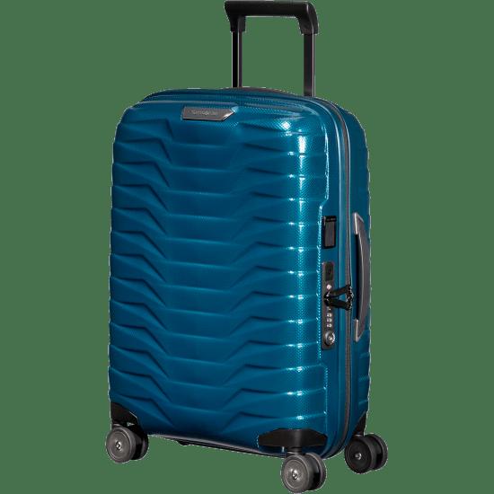 Куфар на 4 колела Samsonite Proxis 55см. с разширение и USB извод, петроленосиньо