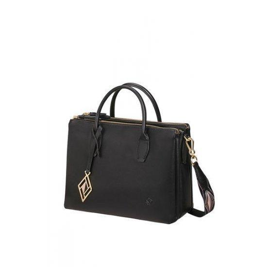Голяма дамска чанта Samsonite Seraphina черна с геометрични орнаменти