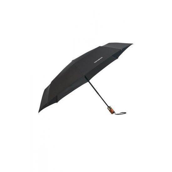 Тройно сгъваем автоматичен чадър Samsonite Wood Classic S черен