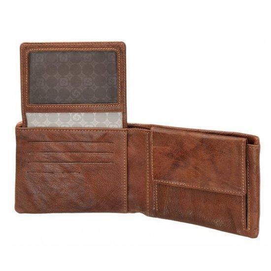 Портфейл от естествена кожа с монетник и отделение за личен документ, кафяв
