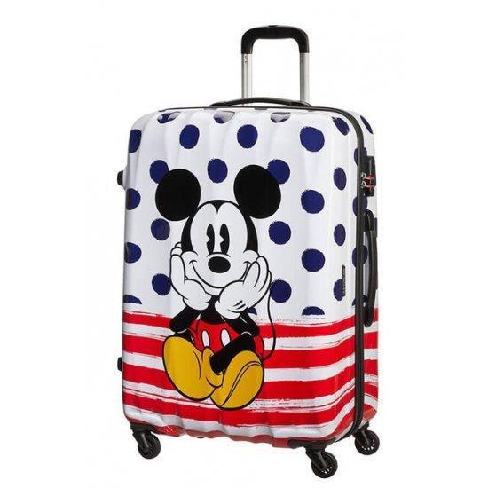 Куфар на 4 колелца American Tourister Disney Legends Mickey 75 см на сини точки