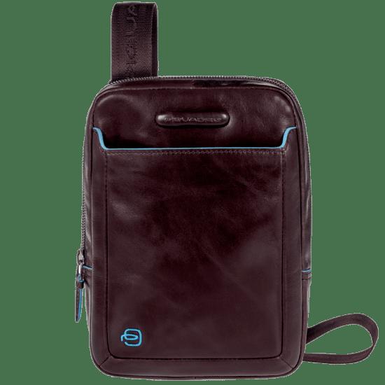 Компактна вертикална чантичка за рамо Piquadro Blue Square с отделение за iPad mini/iPad mini3, махагон