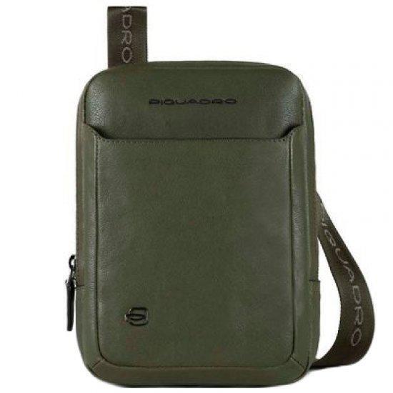 Вертикална чантичка за рамо Piquadro Black Square с отделение за iPad®mini, тъмнозелена