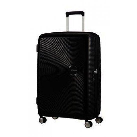 Куфар на 4 колела American Tourister Soundbox 77cm с разширение в черен цвят