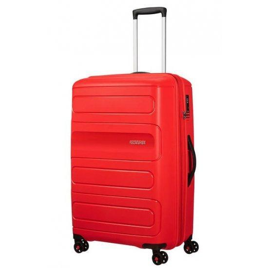 Куфар на 4 колела American Tourister Sunside 77 cm с разширение, червен