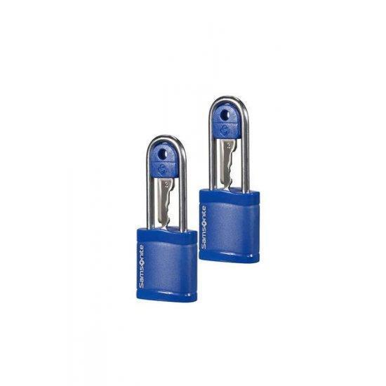 Катинар с ключ подходящ за куфари Samsonite - два броя в комплект син цвят