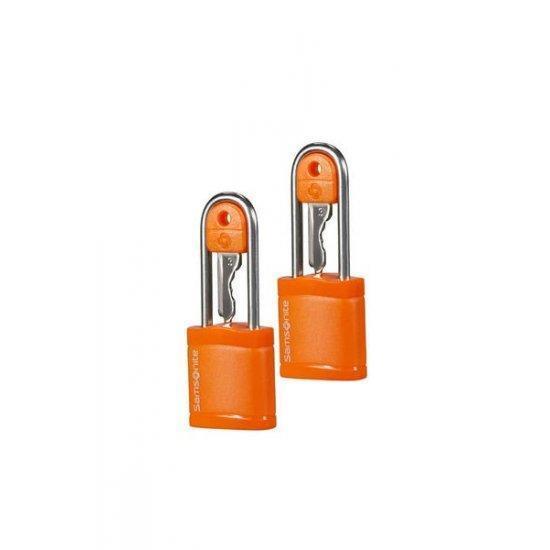 Катинар с ключ подходящ за куфари Samsonite - два броя в комплект оранжев цвят