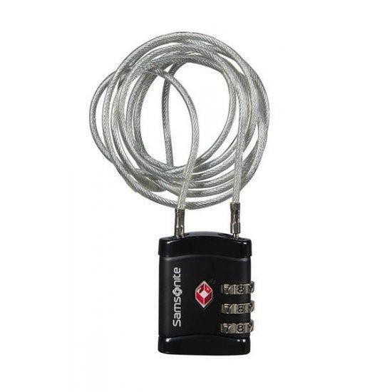 Катинар Samsonite Travel Accessories с TSA кодова ключалка и дълъг кабел, черна