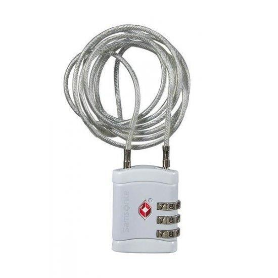 Катинар с TSA кодова ключалка и дълъг кабел Samsonite Travel Accessories, бял