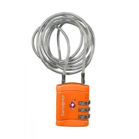 Катинар с TSA кодова ключалка и дълъг кабел Samsonite Travel Accessories, оранжев