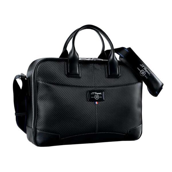 Чанта за документи и лаптоп S.T.Dupont Defi Black Carbon Leather