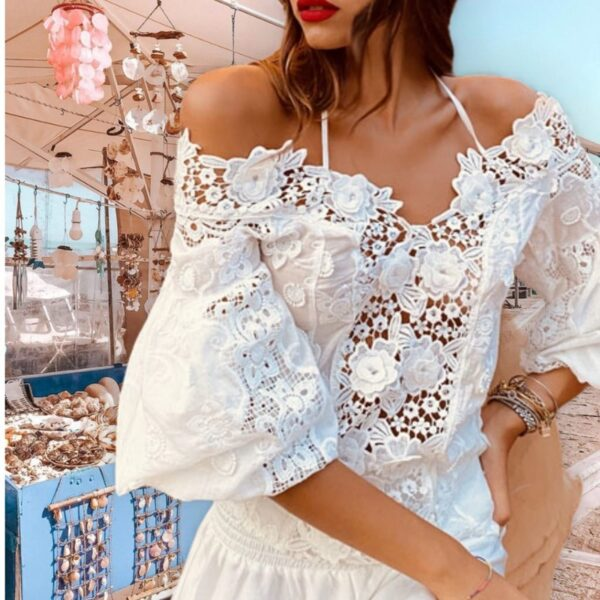 Блуза с голи рамене Moda di Napoli J295