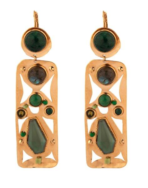 Обеци с полускъпоценни камъни VER15DO-VE SATELLITE PARIS