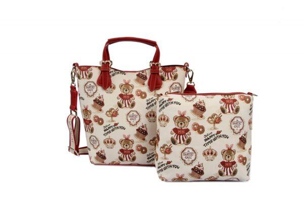 Дамска двойна чанта с принт мечета H-356L CAKE HENNEY BEAR