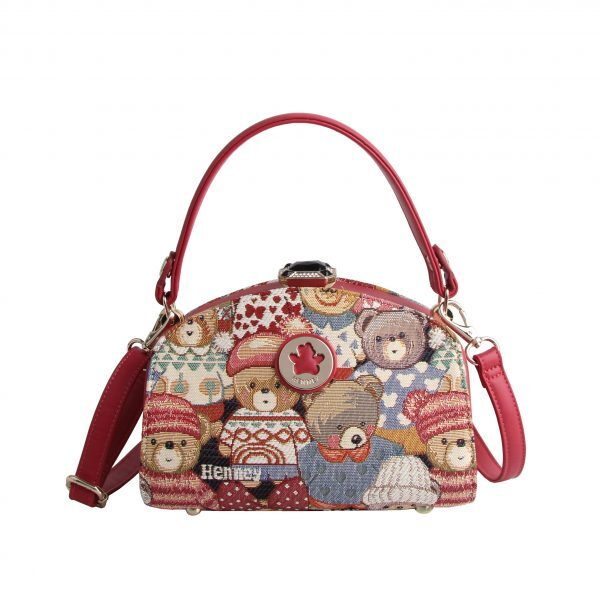 Дамска чанта с принт мечета с шапчици H-082 CUTE HENNEY BEAR