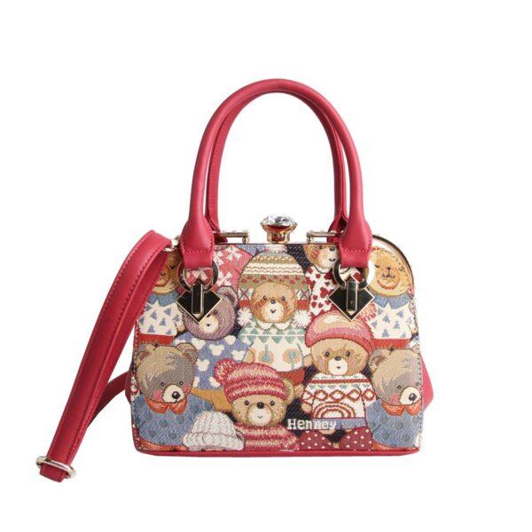 Дамска чанта с принт мечета с шапчици H-051 CUTE HENNEY BEAR