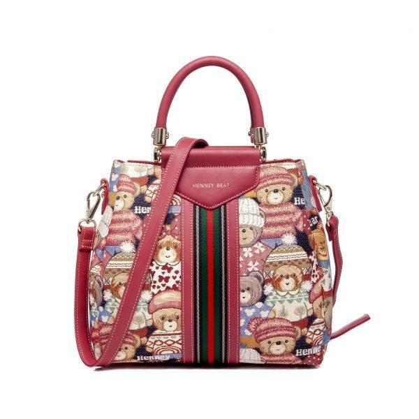 Дамска чанта с принт мечета с шапчици H-372 CUTE HENNEY BEAR