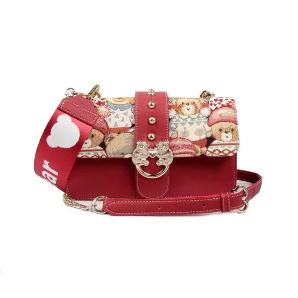 Дамска чанта с принт мечета в червено H-359 CUTE HENNEY BEAR