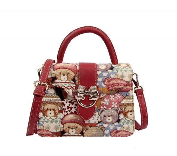 Дамска чанта с принт мечета с шапчици H-345 CUTE HENNEY BEAR
