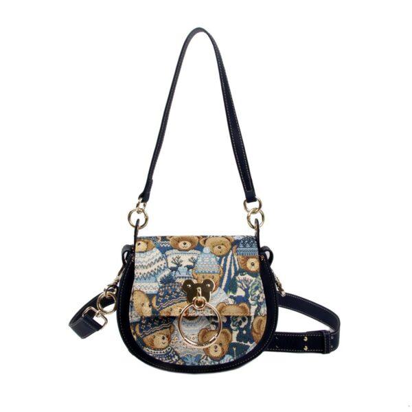 Дамска чанта с принт мечета с шапчици H-361 BLUE CUTE HENNEY BEAR