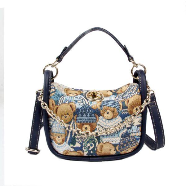 Дамска чанта с принт мечета в синьо H-358L BLUE CUTE HENNEY BEAR