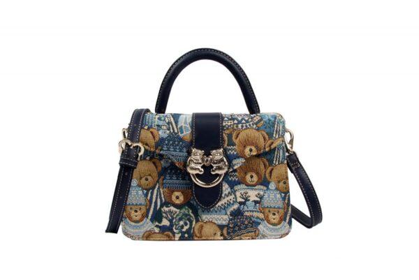 Дамска чанта с принт мечета в синьо H-345 BLUE CUTE HENNEY BEAR