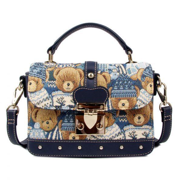 Дамска чанта с принт мечета в синьо H-303 BLUE CUTE HENNEY BEAR