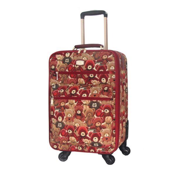 Куфар за пътуване с принт мечета HL-009-20 HENNEY BEAR RED
