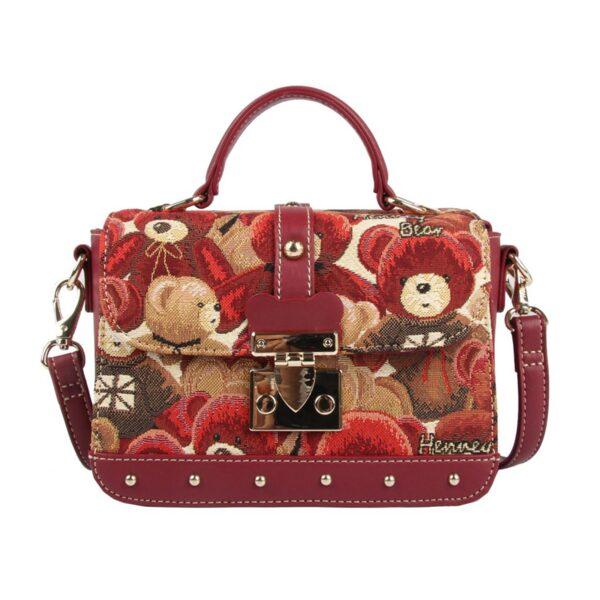 Дамска чанта с принт мечета в червено H-303 RED CUTE HENNEY BEAR