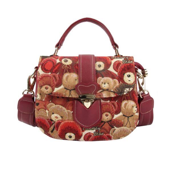 Дамска чанта с принт плюшени мечета H-302 HENNEY BEAR RED