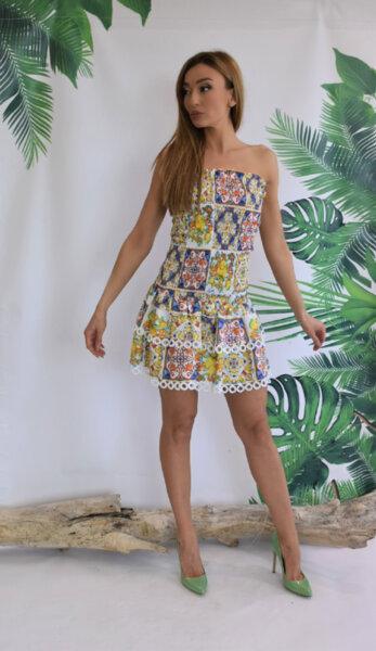 Къса рокля N288-Mayori Gardens of Amalfi