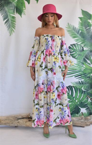Дълга рокля с голи рамене N299 Gardens of Amalfi