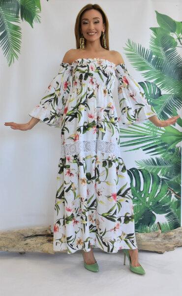 Дълга рокля с голи рамене N299-Lili Gardens of Amalfi