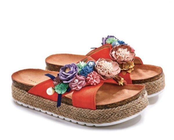 Дамски чехли с цветя EMANUELA BIFFOLI 370808