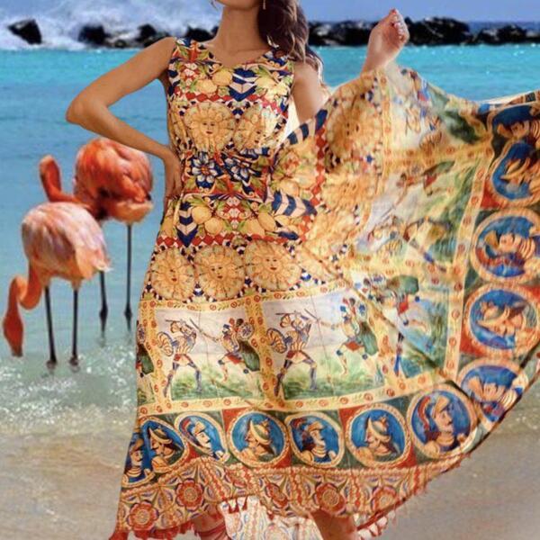 Дълга рокля без ръкави AW406 Moda di Napoli