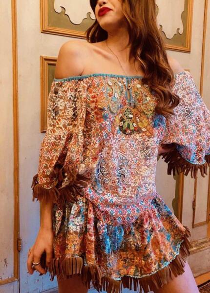 Къса рокля с голи рамене VP081 Moda di Napoli