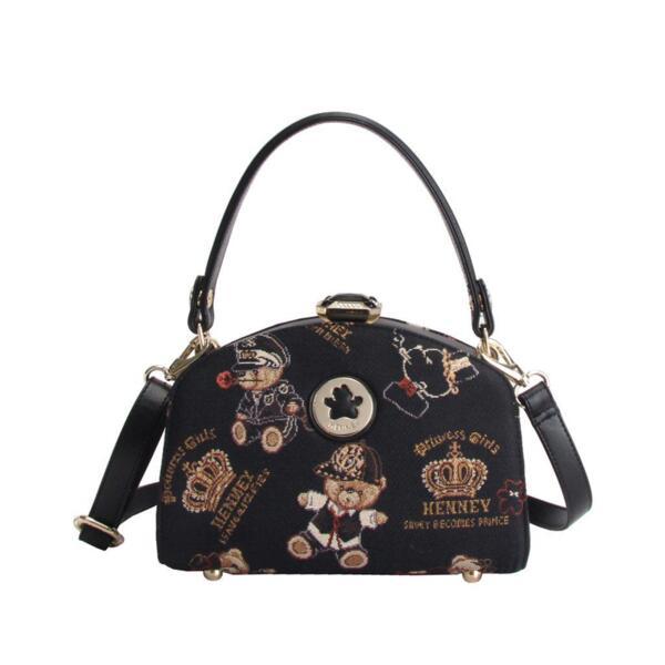 Малка дамска чанта с принт мечета и корони H-082 CROWN BEAR