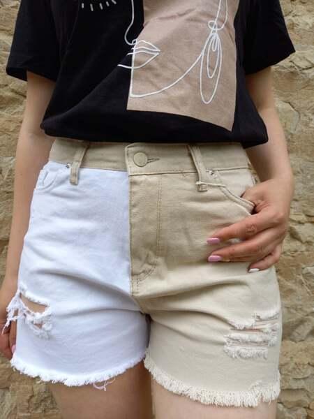 Дънкови къси панталонки в два цвята Кети