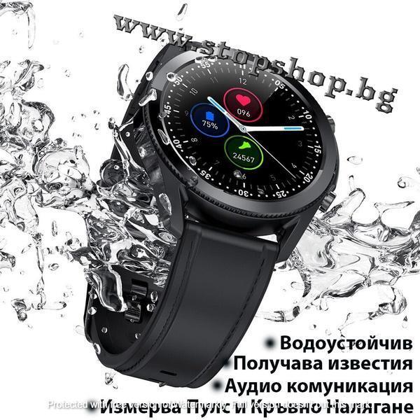 02.Смарт часовник Lemfo G33, HD дисплей, Крачкомер, Смарт известия с кожена Кафява или Черна каишка.