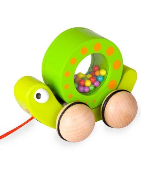 Дървена играчка Охлювче за дърпане