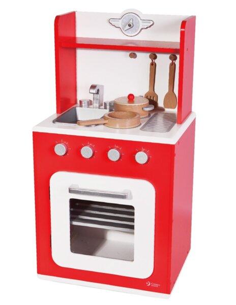Дървена кухня за игра - червена