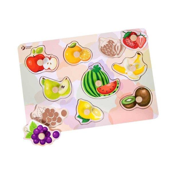 Дървен пъзел за деца с плодове