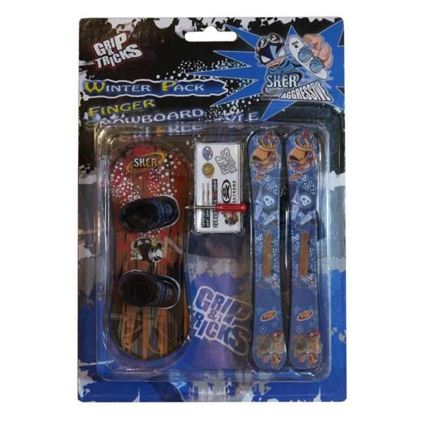 Комплект играчки за пръсти Сноуборд и ски, син и червен