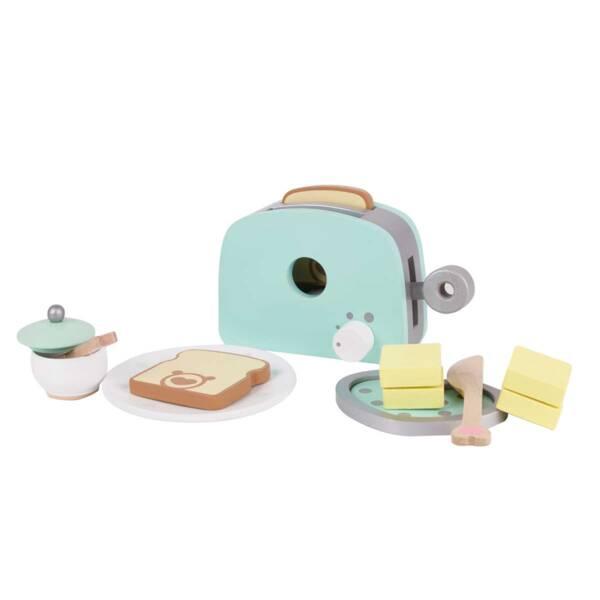 Комплект дървен тостер за игра - син