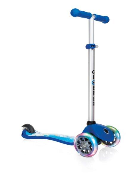 Тротинетка Primo Fantasy Light със светещи гуми - Синя с щампа ракета